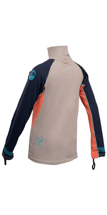 2020 Gul Junior Girls Long Sleeve Rash Vest Silver / Coral RG0346-B4