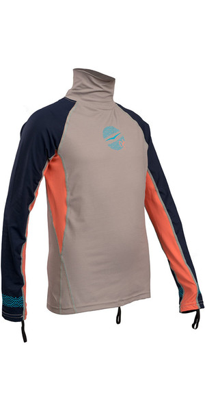 2018 Gul Junior Girls Long Sleeve Rash Vest Silver / Coral RG0346-B4