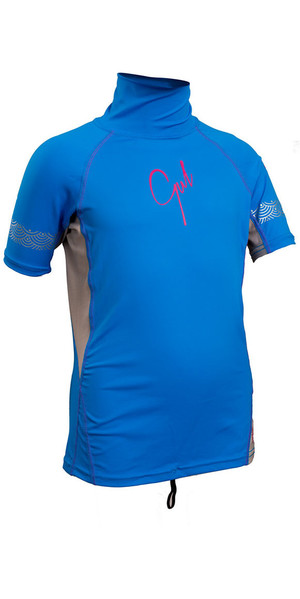 2018 Gul Junior Girls Short Sleeve Rash Vest Blue / Silver RG0345-B4