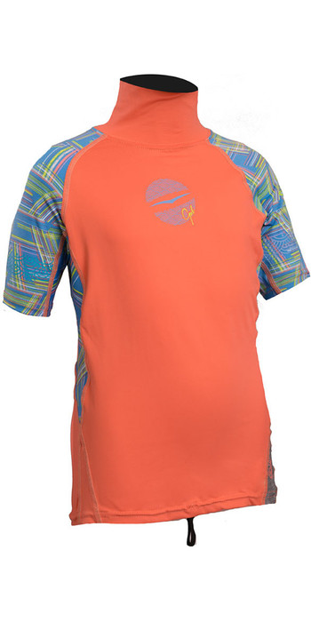 Gul Junior Girls Short Sleeve Rash Vest Coral / Lines RG0345-B4