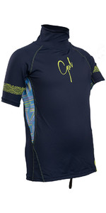 Gul Junior Girls Short Sleeve Rash Vest Navy / Lines RG0345-B4
