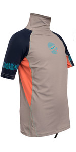 Gul Junior Girls Short Sleeve Rash Vest Silver / Coral RG0345-B4