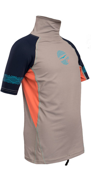 2018 Gul Junior Girls Short Sleeve Rash Vest Silver / Coral RG0345-B4