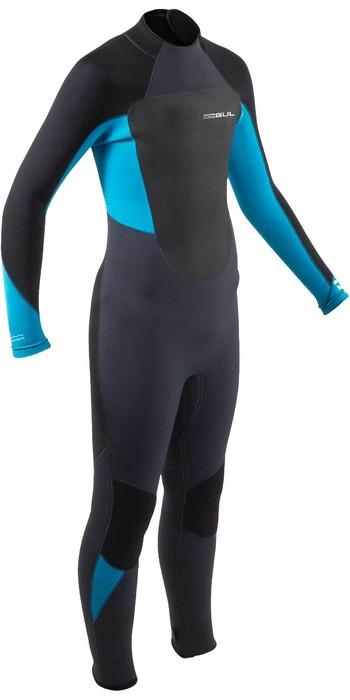 2021 Gul Junior Response 5/3mm Back Zip Wetsuit RE1218-B9 - Jet / Neon Blue