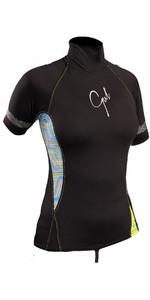 2020 Gul Womens Swami Short Sleeve Rash Vest Black / Lines RG0330-B4