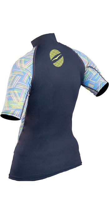 2019 Gul Womens Swami Short Sleeve Rash Vest Navy / Lines RG0330-B4