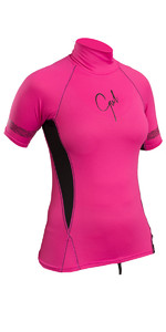 2019 Gul Womens Swami Short Sleeve Rash Vest Pink / Black RG0330-B4