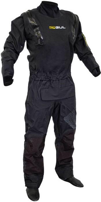 2020 Gul Mens Code Zero Stretch U-Zip Drysuit With Con Zip GM0368-B8 - Black