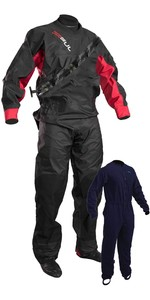2020 GUL Junior Dartmouth Eclip Zip Drysuit Inc Underfleece BLACK / RED GM0378-B5