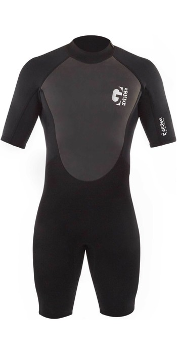 2021 Gul Mens G-Force 3mm Back Zip Shorty Wetsuit GF3305-B7 - Black