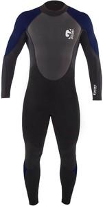 2021 Gul Mens G-Force 3mm Back Zip Flatlock Wetsuit GF1305-B7 - Black / Navy