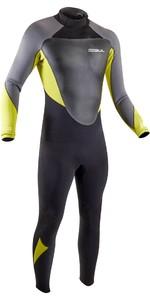 2021 Gul Mens Response 3/2mm Back Zip GBS Wetsuit RE1231-B9 - Black / Lime