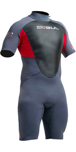 Gul Response 3/2mm Mens Shorty Wetsuit in Graphite / Red RE3319-A9