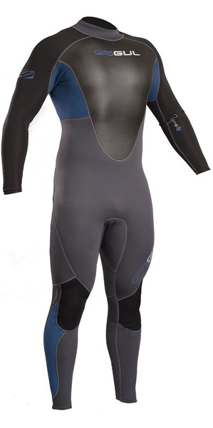 2018 Gul Response 3/2mm Flatlock Back Zip Wetsuit Blue / Graphite RE1321-B4