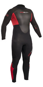 2019 Gul Response 3/2mm Flatlock Back Zip Wetsuit Black / Red RE1321-B4