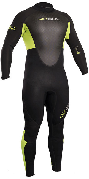 2018 Gul Response 3/2mm Flatlock Back Zip Wetsuit Black / Lime RE1321-B4