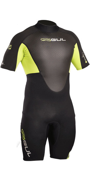2018 Gul Response 3/2mm Back Zip Shorty Wetsuit Black / Lime RE3319-B4