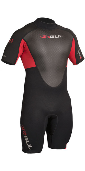 2018 Gul Response 3/2mm Back Zip Shorty Wetsuit Black / Red RE3319-B4