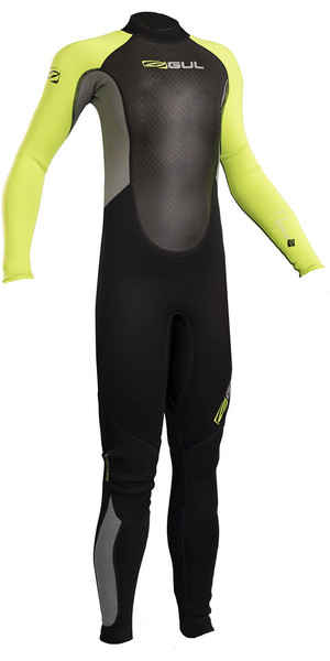 2019 Gul Response Junior 3/2mm Flatlock Wetsuit Black / Lime RE1322-B4