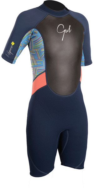 2018 Gul Response Junior Girls 3/2mm Shorty Wetsuit Navy / Lines RE3321-B4