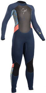 2019 Gul Response Junior Girls 3/2mm Flatlock Wetsuit Navy / Lines RE1323-B4