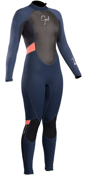 2018 Gul Response Womens 3/2mm Flatlock Back Zip Wetsuit Navy / Black RE1319-B4