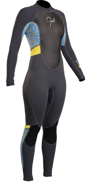 2018 Gul Response Womens 3/2mm Flatlock Back Zip Wetsuit Graphite Lines RE1319-B4