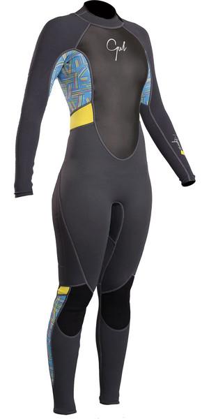 2018 Gul Response Womens 3/2mm Flatlock Back Zip Wetsuit Graphite Lines RE1319-B4