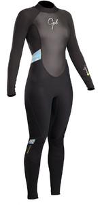 2019 Gul Response Womens 3/2mm Flatlock Back Zip Wetsuit Black / Lines RE1319-B4