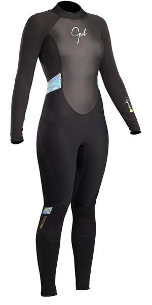 2018 Gul Response Womens 3/2mm Flatlock Back Zip Wetsuit Black / Lines RE1319-B4