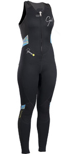 2019 Gul Response Womens 3mm Flatlock Long Jane Wetsuit BLACK / Lines RE4314-B4
