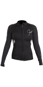 2019 Gul Response Womens 3mm Bolero Wetsuit Jacket Black / Lines RE6305-B4