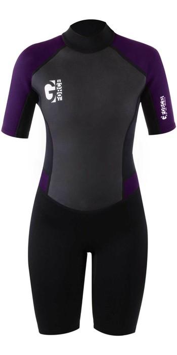 2021 Gul Womens G-Force 3mm Back Zip Shorty Wetsuit GF3306-B7 - Black / Mulberry