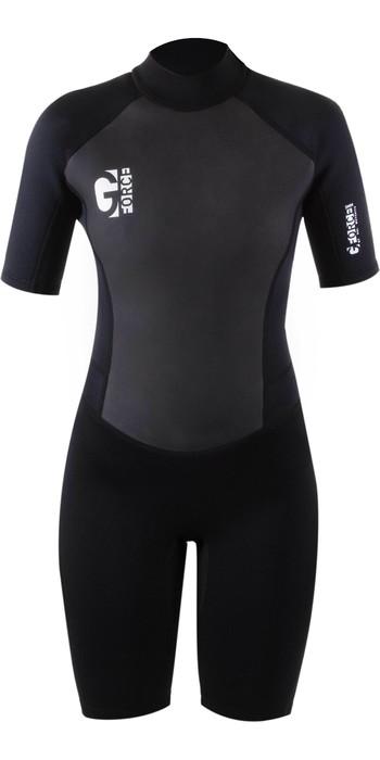 2021 Gul Womens G-Force 3mm Back Zip Shorty Wetsuit GF3306-B7 - Black