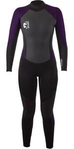 2021 Gul Womens G-Force 3mm Back Zip Wetsuit GF1306-B7 - Black / Mulberry
