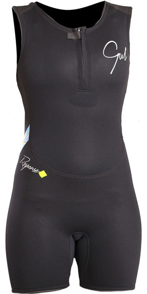 2019 Gul Response Womens 3/2mm Flatlock Short Jane Wetsuit BLACK / Lines RE5306-B4