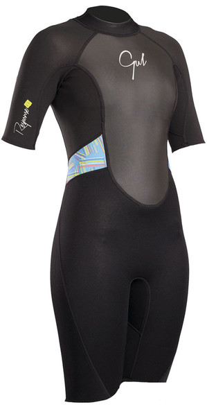 2018 Gul Womens Response 3/2mm Back Zip Shorty Wetsuit Black / Lines RE3318-B4