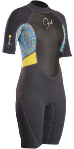2019 Gul Womens Response 3/2mm Back Zip Shorty Wetsuit Graphite / Teal RE3318-B4