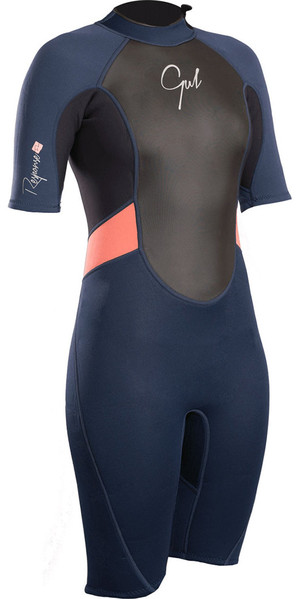2018 Gul Womens Response 3/2mm Back Zip Shorty Wetsuit Navy / Black RE3318-B4