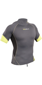 2019 Gul Xola Short Sleeve Rash Vest Graphite / Lime RG0338-B4
