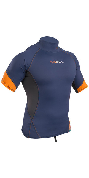 2019 Gul Xola Short Sleeve Rash Vest Blue / Orange RG0338-B4