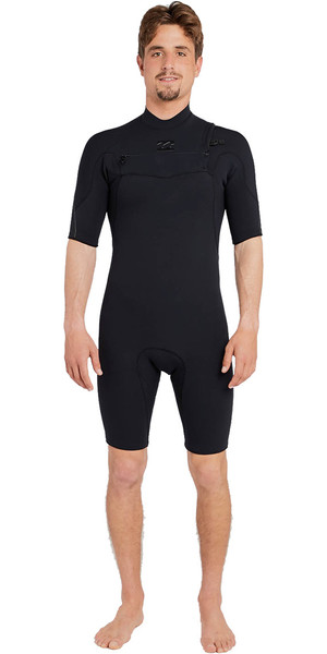 2018 Billabong Furnace Pro 2mm Chest Zip Shorty Wetsuit BLACK H42M15