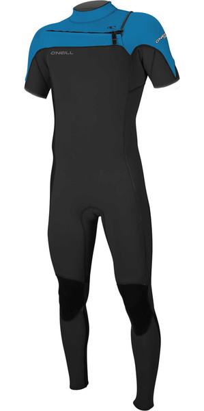 2018 O'Neill Hammer 2mm Chest Zip Short Sleeve Wetsuit BLACK / OCEAN 5056 SECOND