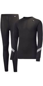 2019 Helly Hansen Junior Lifa Active Thermal Base Layer Set Black 26665
