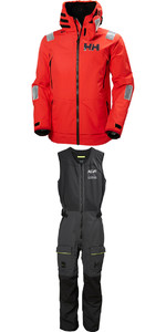 2019 Helly Hansen Aegir Race Jacket 33869 & Salopette 33871 Combi Set Red / Ebony