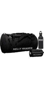 2019 Helly Hansen HH 50L Duffel Bag 2 Washbag 2 & Mizu M8 Bottle Package Deal - Black
