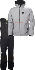 2019 Helly Hansen HP Foil Jacket & Salopette Combi Set Grey Fog / Black 33876 33902