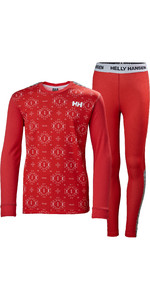 2020 Helly Hansen Junior Lifa Active Thermal Base Layer Set 48647 - Raspberry