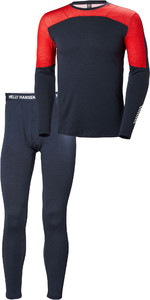 2019 Helly Hansen Mens HH Lifa Merino Crew Crew Base Layer Top & Trouser Set - Navy