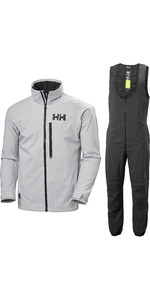 2020 Helly Hansen Mens HP Racing Jacket & Midlayer Salopettes Combi Set - Grey Fog / Ebony